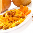 Sweet omelette with pieces of pumpkin - Stock Photo