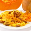 Sweet omelette with pieces of pumpkin — Stock Photo