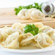 Boiled pelmeni — Stock Photo