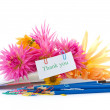 Stock Photo: Autumn flowers with book and pencils