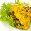 Omelet with green peas — Stock Photo #13901225