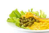 Omelet with green peas — Stock Photo