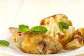 Fried fish with cauliflower — Stock Photo