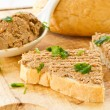 Bread with liver pate — Stock Photo