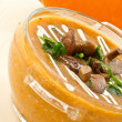 Pumpkin soup with mushrooms — Stock Photo