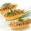 Tartlets with paste — Stock Photo