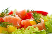 Salad with salted salmon — Stock Photo