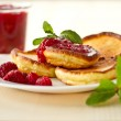 Pancakes with raspberries — Stock Photo #15596727