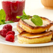 Stock Photo: Pancakes with raspberries