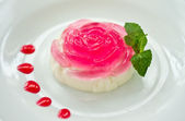 Milk jelly in a rose — Stock Photo