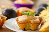 Muffins with fruit — Stock Photo