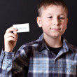 Boy shows a card with gratitude — Stock Photo #17414525