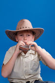 Portrait of a boy in a cowboy hat — Stock Photo