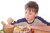 Boy breakfast — Stock Photo
