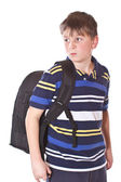 Disgruntled student with a school backpack — Stock Photo