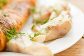 Omelette with salted mackerel — Stock Photo