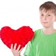 Boy holding a heart — Stock Photo
