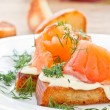Stock Photo: Fried toast with salted salmon