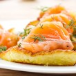 Stock Photo: Potato pancakes with salted salmon