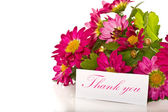 Thanks with flowers — Stock Photo