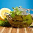 Green tea with mint and ginger — Stock Photo