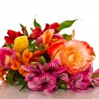 Bouquet of lilies and roses — Stock Photo
