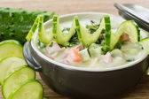 Cold cucumber soup — Stock Photo