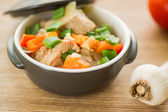 Braised pork with vegetables — Stock Photo