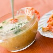 Vegetable cream soup with prawns — Stock Photo #26997749