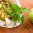 Fried zucchini with garlic mayonnaise — Stock Photo #28154021