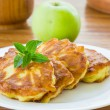 Pancakes with apples — Stock Photo