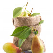 Ripe pears in a bag — Stock Photo