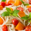 Spaghetti with pumpkin — Stock Photo