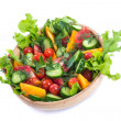 Salad with fresh cucumbers and tomatoes — Stock Photo