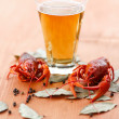 Stock Photo: Boiled crawfish with beer
