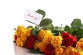 желтые и красные розы — Стоковое фото