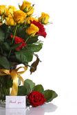 黄色と赤のバラの花瓶 — ストック写真