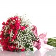 Bouquet of red roses with ribbon — Stock Photo #32796601