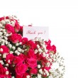 Bouquet of red roses with thanks — Stock Photo