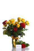 Rosas amarelas e vermelhas em um vaso — Foto Stock