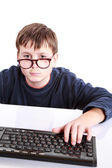 Portrait of a teenager with a keyboard — Stock Photo