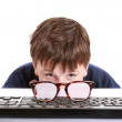 Boy with glasses and low vision — Stock Photo