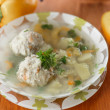 Meatball soup with vegetables — Stock Photo