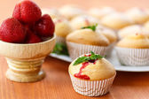 Strawberry muffins — Stock Photo