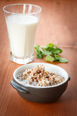 Buckwheat with milk — Stock Photo