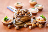 Sweet curd cupcakes with hazelnuts — Stock Photo