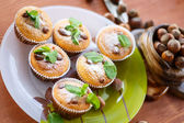 Sweet curd cupcakes with hazelnuts — Foto Stock