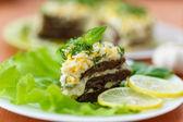 Liver cake with garlic — Stock Photo