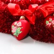 Decorative red heart with ribbon — Stock Photo