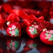 Christmas red hearts with red garland — Lizenzfreies Foto